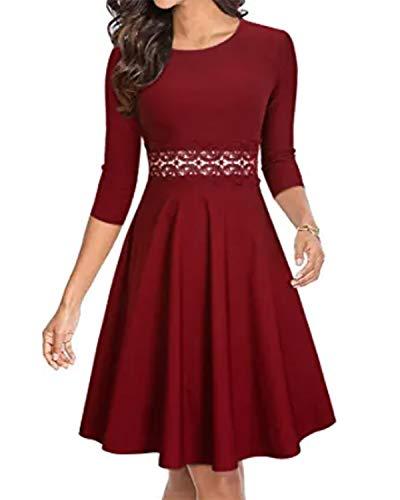 ZANZEA Vestido de Fiesta Mujer Manga Larga Tallas Grandes Elegant Vestido de Cóctel de Noche Cortos W1-Vino Rojo XXL