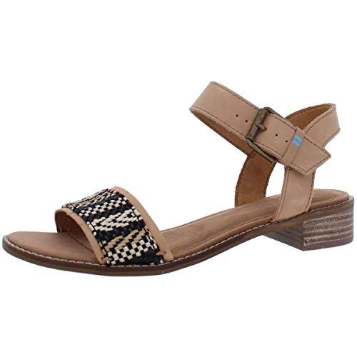 Sandália feminina TOMS Camilia com salto, Honey Leather/Geometirc Woven, 7