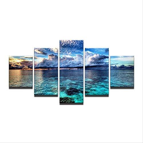DGGDVP HD Impreso Pintura Lienzo Niños Habitación Decoración 5 Piezas Espejo Lago Cielo Azul y Nubes Blancas Paisaje Marino Cuadro Modular Tamaño 1 con Marco