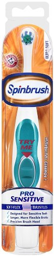Spinbrush Pro Sensitive Ultra Soft Powered Toothbrush, colors may vary