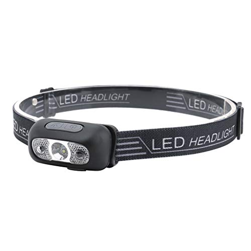 Fewear 2019 Waterproof USB Rechargeable Mini LED Headlamp Flashlight - Motion Sensor Switch - Adjustable Headband - 5 Display Modes - Work Light - Head Lights for Camping,Hiking, Outdoors (Black)