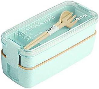 CHENCfanh Fiambrera 750ml Sana Material de Capa 2 Almuerzo Bento Box Cajas Microondas Vajilla Alimentación Contenedor de Almacenamiento Lunchbox (Color : Green)