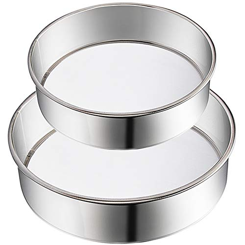 2 Pack Flour Sifter,Stainless Steel Fine Mesh Strainers Flour Sieve,60 Mesh Round Sifter for Baking Cake Bread (6-Inch and 8-Inch)