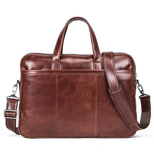 CCDYLQ 14-Zoll-Laptop-Tasche, Herren Top Layer realen Kuh-Leder-Handgriff Handtasche, große Kapazitäts-Handgriff Handtasche, Aktentasche a4 Tote Attache Fall fit Business Travel