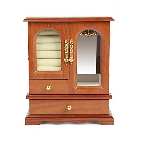 YUNLILI Caja de joyería de Madera, Caja de joyería Vintage para Collar, Anillo, Pendientes Organizador, Color Antiguo (Color : Wood Color)