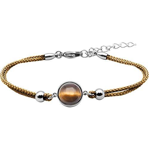 LABISE Paris Bracelet Coton Cabochon Oeil de Tigre - Anti St