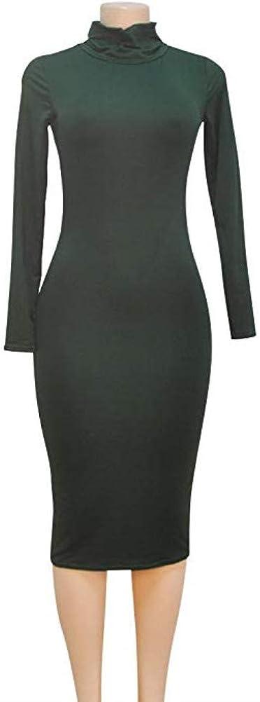 laiyuan Women Turtleneck Long Sleeve Slim Bodycon Wrap Tunic Pencil Midi Dress