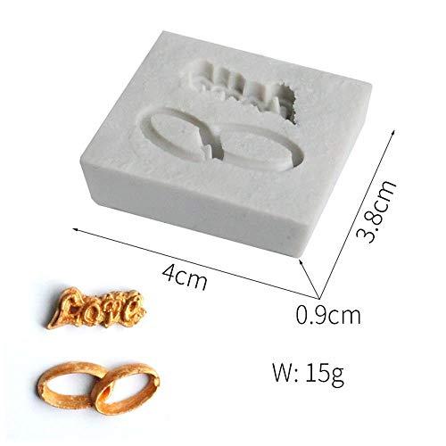 RGHG Carta anillo forma molde Fondant molde de silicona decoración herramienta de molde de pastel de chocolate Fimo molde resina molde bizcocho molde Fimo molde de cocina accesorios (Color : H183)