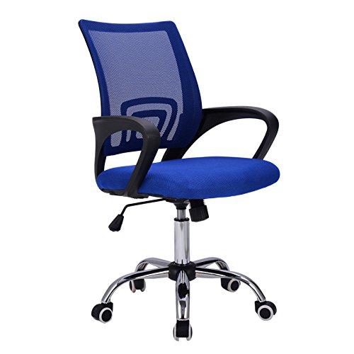 New Blue Ergonomic Mesh Computer Chair Office Desk Comfortable Seat Mid-back Modern Design Metal Base #736