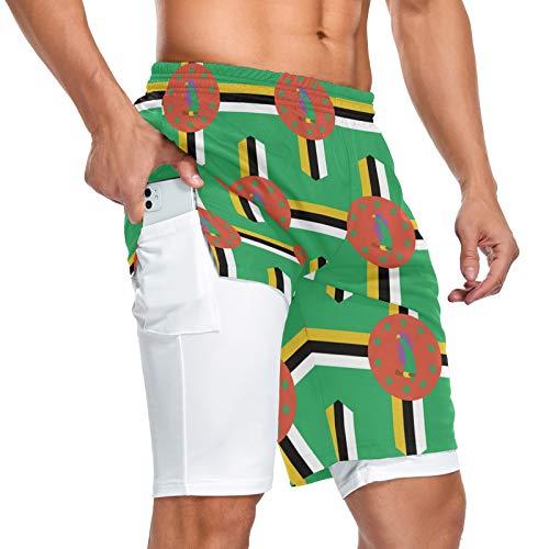 Dominica Flag - Pantalones cortos deportivos para hombre, 2 en 1, con bolsillo