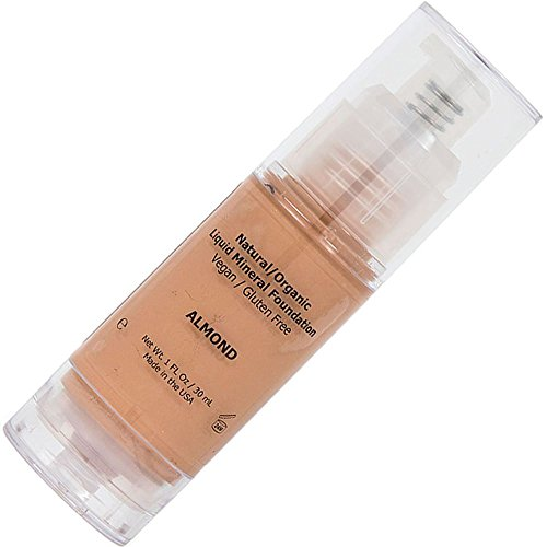 Shimarz Liquid Mineral Foundation No Parabens, Natural Sunscreen SPF, Non Comedogenic, Hypoallergenic, Made in USA, Medium Color, Almond, 1FL oz/30ml (Pack of 1)