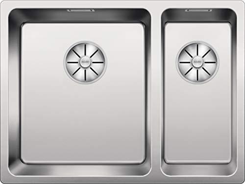 Blanco Andano 340/180-IF, Küchenspüle für normalen und flächenbündigen Einbau, Doppelbecken-Spüle, Hauptbecken links, mit InFino-Ablaufsystem, Edelstahl Seidenglanz; 522975