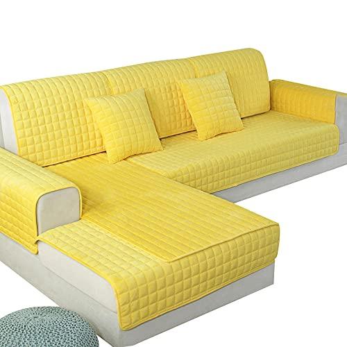 Estaciones Antideslizante Tela Gruesathicken Plush Sofá Cojín Toalla Color Sólido Fundas Antideslizantes Para Muebles Fundas Para Decoración De Sala De Estar Fundas Protectoras Para Sofá-Yellow_9