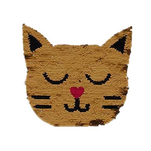 HEALLILY 1 Unid Parches para Gatos Parches Bordados Lentejuelas Niños Apliques Animales Parches de Reparación de Bricolaje para Jeans Ropa Pantalones Chaquetas Tela Mochilas de Costura