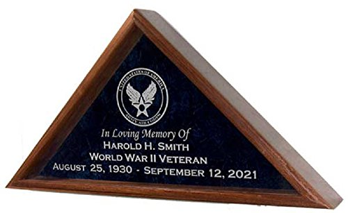 All American Gifts Military Funeral Burial Flag Display Case w/Military Emblem - Includes 4 Lines of Text Personalization - for 5x9.5 Coffin Flag - Solid Walnut Wood (Navy Emblem)
