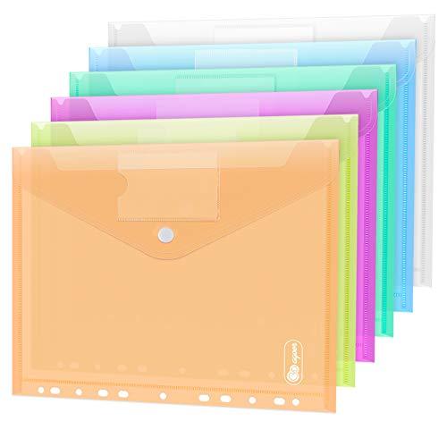 12 Stück Dokumententasche A4, 6 Farben Sichttasche A4 Transparent, Dokumenten Dokumentenmappe Sammelmappen Tasche druckknopf für Organisieren mit 11 Lochrand und Etikettentasche