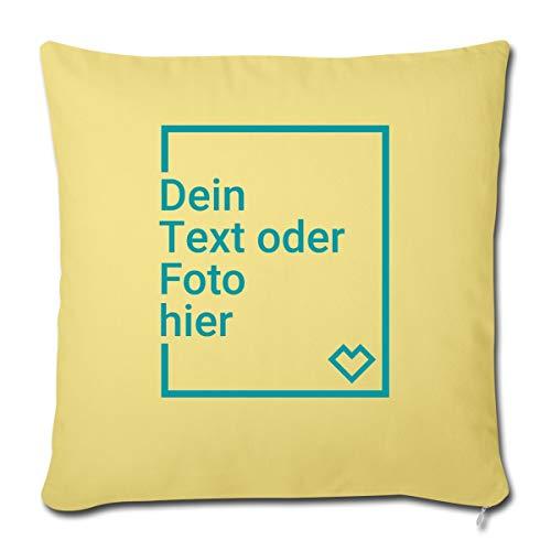Spreadshirt Personalisierbares Kissen Selbst Gestalten mit Foto und Text Wunschmotiv Sofakissenbezug 44 x 44 cm, Hellgelb
