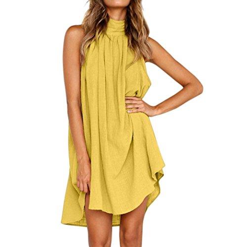 ESAILQ Sommerkleider Damen Kurzarm V-Ausschnitt Strand Blumen Kleider Abendkleid Knielang(M,Gelb)