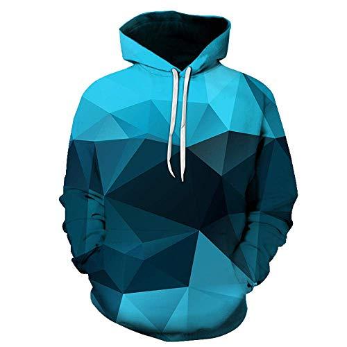 Geométrica Sudaderas Hombre 3D Streetwear de la Moda con Capucha de los Hombres s Ropa de Hombre 3D Capucha Sudaderas Frikis de la matemáticas 3D (Color : Blue, Size : Medium)