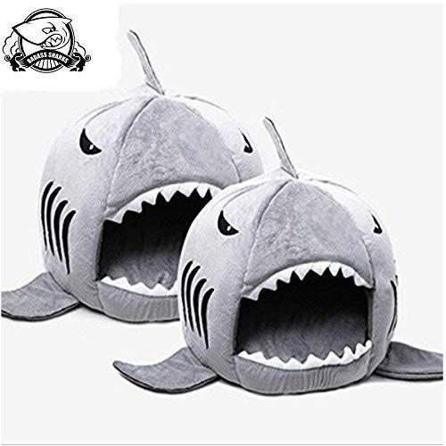Badass Sharks Hundebett im Hai-Design, warm, weich, für den Winter, 42 cm / 50 cm (50 cm, Silber)
