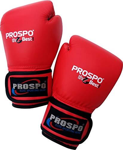 Prospo Top-Grade Boxing Gloves, Kickboxing Bagwork Gel Sparring Training Gloves, Muay Thai Style Punching Bag Mitts, Fight Gloves Men & Women (Red, 8 oz)