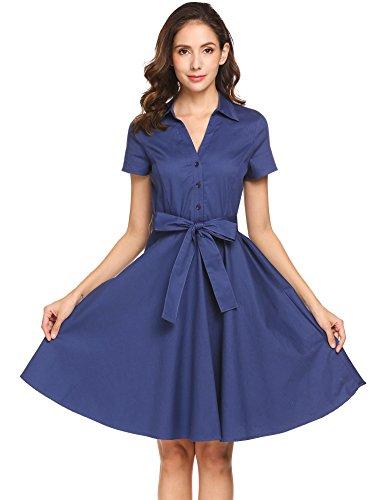 Meaneor Dames hemdblousjurk elegante zomerjurk korte mouwen met riem strik cocktailjurk partyjurk blouse-jurk knielange van katoen stretch