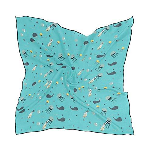 N/A Baby Blue Aquarius Flow Flow Bandana Vierkant Polyester Satijn Nek Hoofd Sjaal Sjaals Set Kerchief, 60 x 60cm