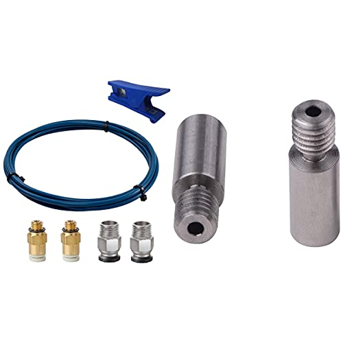 SODIAL PTFE Bowden Tube (2M) XS Series with 2 Pieces of Ultra-Smooth Titanium Alloy Thermal Break Throat TC4 Thermal Cylinder
