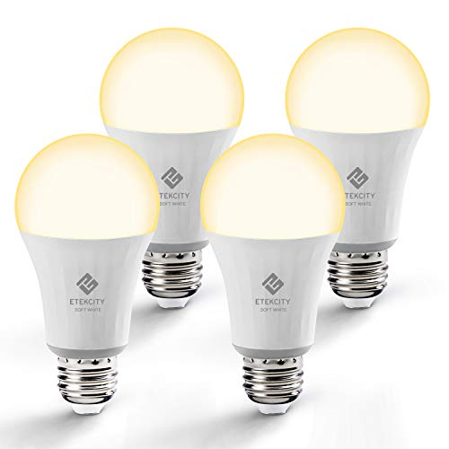 Etekcity Smart Light Bulb, WiFi Dimmable Soft White LED Bulb Works with Alexa, Google Home and IFTTT, Easy Setup, Schedule, A19 E26, 60W Equivalent, 806LM, 2700K, No Hub Required, UL Listed (4 Pack)