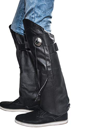 Leather Legs Cover Half Chaps Zipper & Velcro Short Gaiter Stay Up Lined Windproof Leg Warmers Adjustable Concho & Fringes for Horse Riders, Protective Guard Bikers, leg gaiters for Women & Men XL-2X