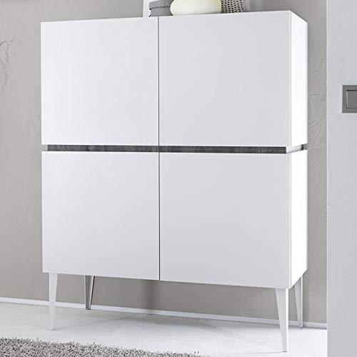 Dressoir hoog gelakt design wit mat 4 deuren Valerona 2 L 123 x P 51 x H 125 cm Wit.