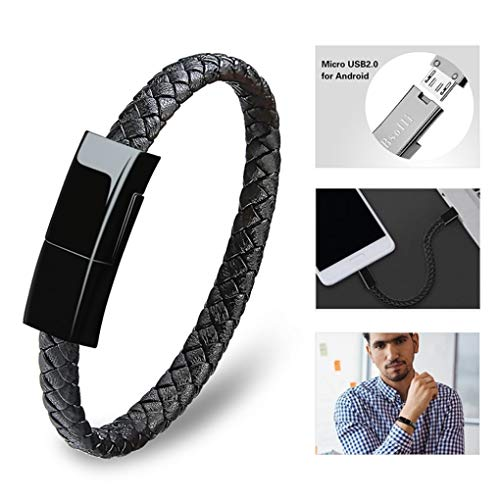 Dzzkoye Charging Cable Bracelet for Men Portable Micro Leather Android Charger USB Wristband (Black L)