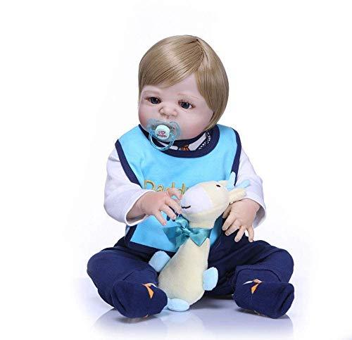 ZXYMUU Cuerpo de Silicona Completo Reborn Baby Doll Toy Lifelike Real 57cm Newborn Boy Princess Babies Doll Baigner Juguetes Regalo Infantil para niños 3 años y más Juguetes de muñeca