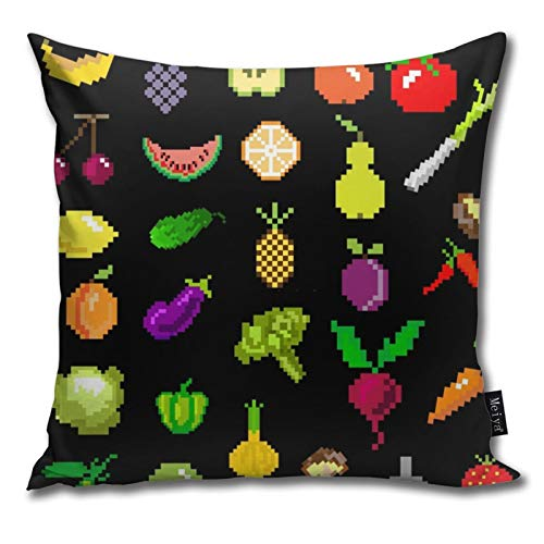 Zhung Ree Throw Pillow Covers Pixel Art Fruit and Vegetable Cushion Cover Pillowcases 18x18inch Pillow Cases for Home Sofa Chair Decoration
