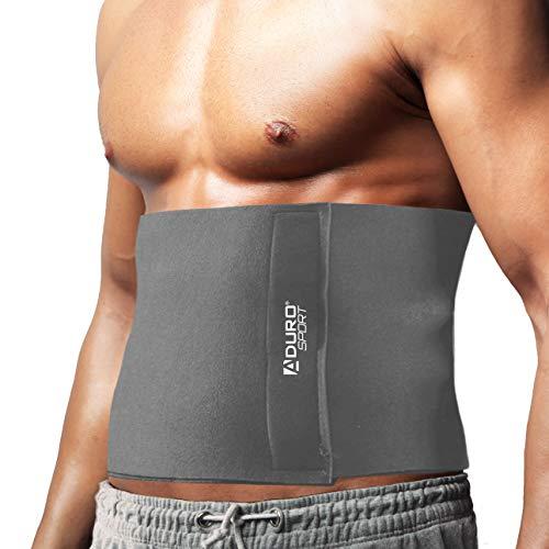 Aduro Waist Trainer for Men Women 12' Sweat Belt Waist Trimmer Stomach Slimming Body Shaper Exercise Equipment Adjustable Belt (Gray)