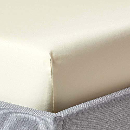 Homescapes Spannbettlaken/Spannbetttuch 140 x 190 cm – 100% Reine ägyptische Baumwolle Fadendichte 1000 – Perkal-Bettlaken in Luxushotel-Qualität, Creme/vanille