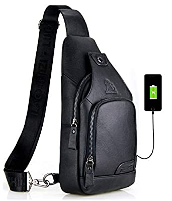 LAOSHIZI Men Genuine Leather Sling Bag with USB Charging Port Travel Crossbody Chest Bag Hiking Daypack (Black)