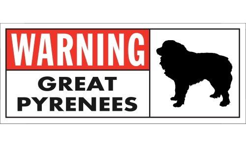 WARNING(Red) GREAT PYRENEES ワイドマグネットサイン:グレートピレニーズ Sサイズ