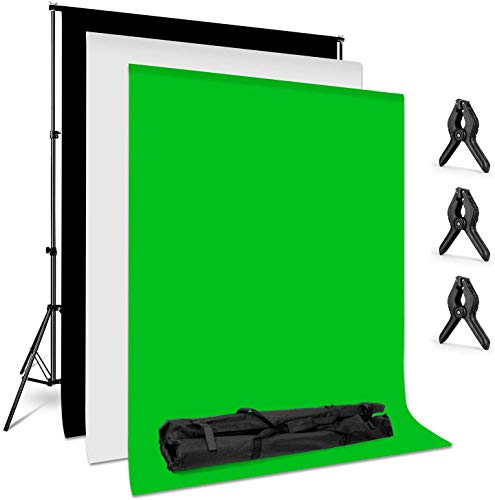Amzdeal Photography Backdrop Stand 6.6 ft x 10 Photo Backdrop Stand Kit Washable White Black Green Background Stand Support System with 3 Clamps and a Carrying Bag