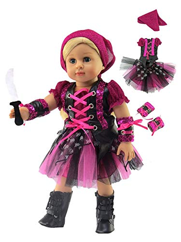 u s toy kids halloween costumes American Fashion World Punk Rock Pirate Halloween Costume Made to fit 18 inch Dolls Such as American Girl Dolls