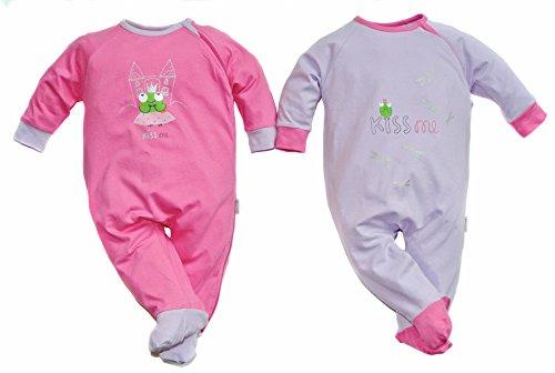 gelati Baby Mädchen 2er-Pack Schlafanzug 1tlg. Langarm mit Fuß Frosch Flieder/pink 16180002 (56)