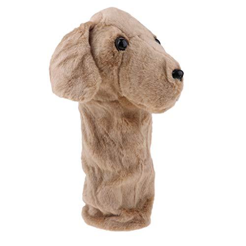 IPOTCH Plüsch Tierhauben Schlägerkopfhülle Schlägerhaube Putter Headcover Golf Putterhaube für 460 cc/No.1 Fahrer - Brauner Hund