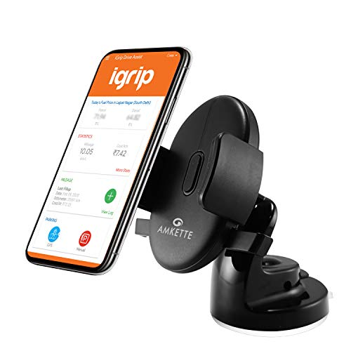 Amkette iGrip Easy View One Touch Dashboard and Windshield Car Mount for All Smart Phones (Black)