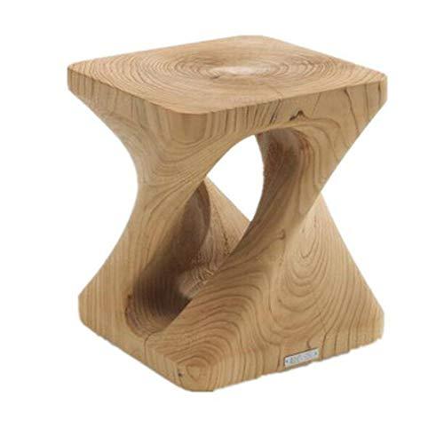 Taburetes de madera de doble espiral tallados a mano con reposapiés de madera de doble espiral y bordes de muelle, multifunción, asiento otomano, madera robusta, natural, 30x30x40cm