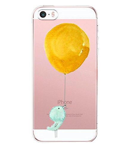 Pacyer Case kompatibel mit iPhone SE Hülle Silikon Ultra dünn Transparent iPhone 5S iPhone 5 Handyhülle Rückschale TPU Schutzhülle für Apple iPhone SE / 5S / 5 Cover Mädchen Elefant Federn (5)