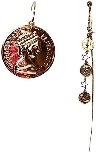 Simplicidad con Estilo Pendientes de Simplicidad con Estilo Monedas de Oro Vintage Francesas Monedas Asimétricas Largas Pendientes de Simplicidad con Estilo Accesorios de Vestir, ZS