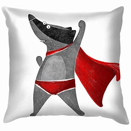 N\A Superhero Raccoon Red Cape Animales Fauna Animal The Arts Cojines Fundas Acento Hogar Sofá Funda de cojín Funda de Almohada Regalo Decorativo