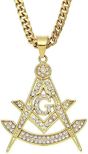 Collar New Men Gold Color Hip Hop Acero Inoxidable Rhinestone Collares Pendientes masónicos Collar masónico de la Vendimia Regalos Longitud 70cm Collar