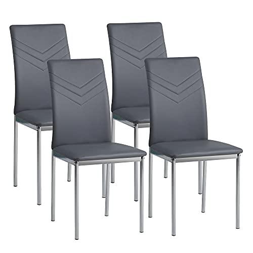 Albatros 2936 Verona Set de 4 sillas de Comedor, Gris, pie de Cromo, SGS Tested
