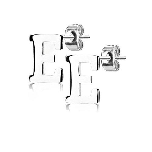 Bungsa® BUCHSTABE E Ohrstecker Silber - BUCHSTABEN E Ohrring in Silber - Alphabet Ohrringe zum Stecken - aus Edelstahl - Ohrschmuck für Damen, Kinder & Herren